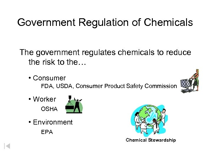 Government Regulation of Chemicals The government regulates chemicals to reduce the risk to the…