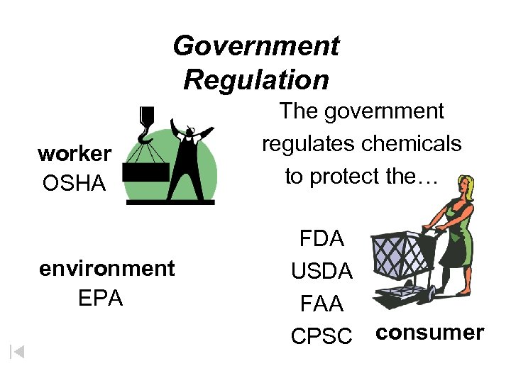 Government Regulation worker OSHA environment EPA The government regulates chemicals to protect the… FDA