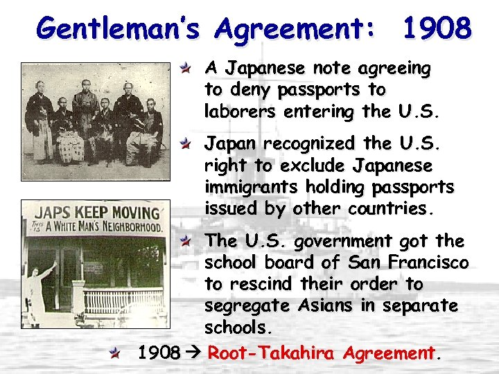 Gentleman's Agreement: 1908 A Japanese note agreeing to deny passports to laborers entering the
