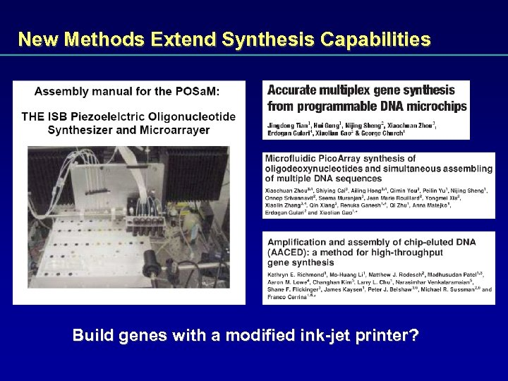 New Methods Extend Synthesis Capabilities Build genes with a modified ink-jet printer?