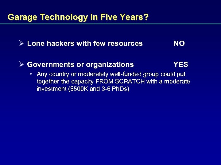 Garage Technology in Five Years? Ø Lone hackers with few resources NO Ø Governments