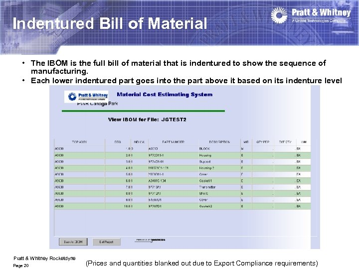 Indentured Bill of Material • The IBOM is the full bill of material that