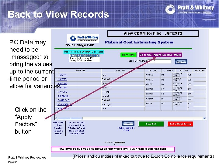 """Back to View Records PO Data may need to be """"massaged"""" to bring the"""