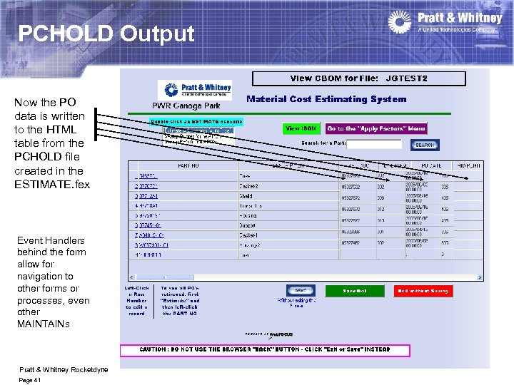 PCHOLD Output Now the PO data is written to the HTML table from the