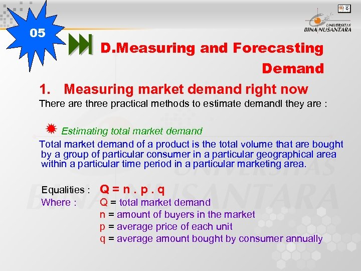 05 D. Measuring and Forecasting Demand 1. Measuring market demand right now There are