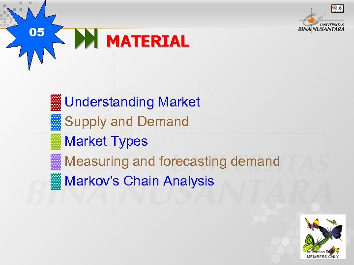 05 MATERIAL ▓ Understanding Market ▓ Supply and Demand ▓ Market Types ▓ Measuring