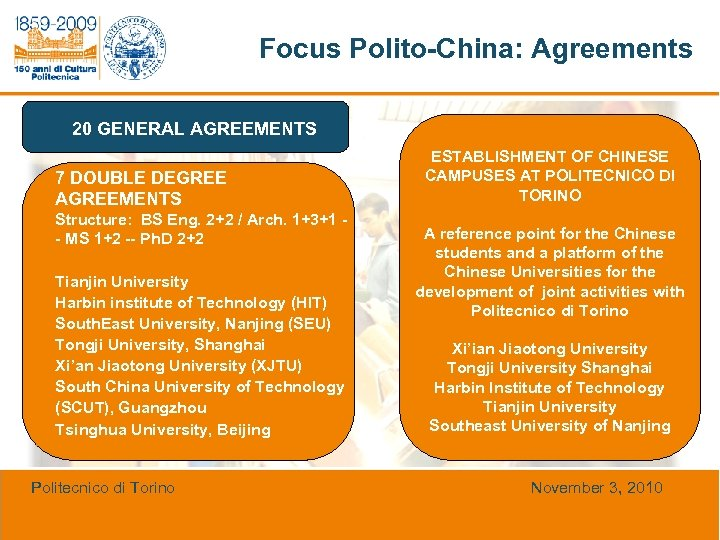 Focus Polito-China: Agreements 20 GENERAL AGREEMENTS 7 DOUBLE DEGREE AGREEMENTS Structure: BS Eng. 2+2
