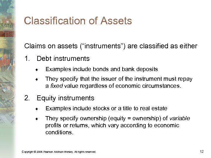 """Classification of Assets Claims on assets (""""instruments"""") are classified as either 1. Debt instruments"""