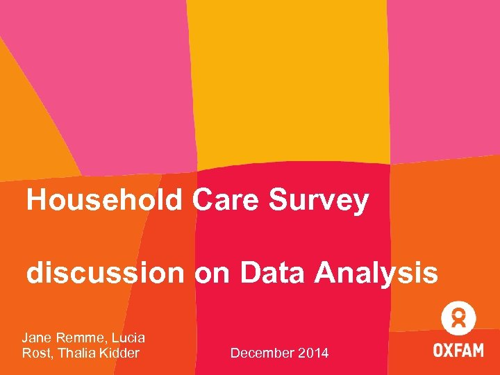 Household Care Survey discussion on Data Analysis Jane Remme, Lucia Rost, Thalia Kidder December
