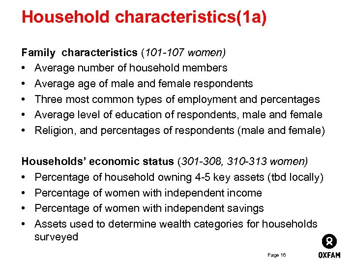 Household characteristics(1 a) Family characteristics (101 -107 women) • Average number of household members