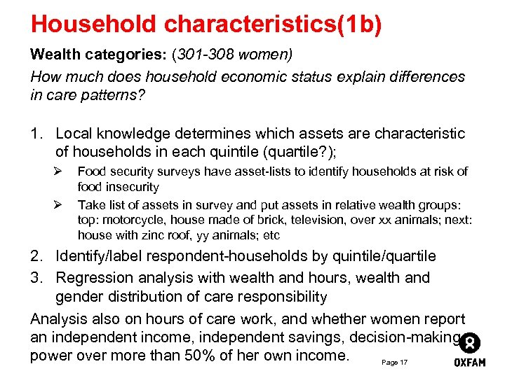 Household characteristics(1 b) Wealth categories: (301 -308 women) How much does household economic status