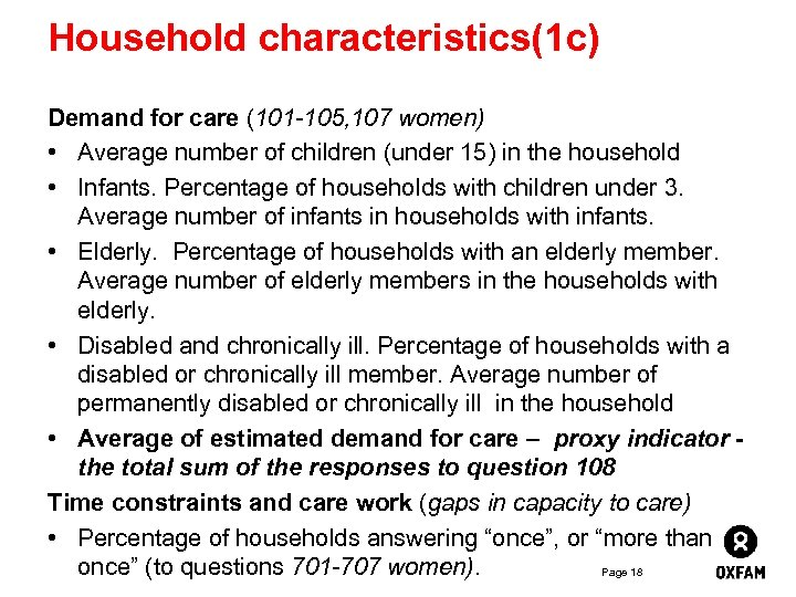 Household characteristics(1 c) Demand for care (101 -105, 107 women) • Average number of