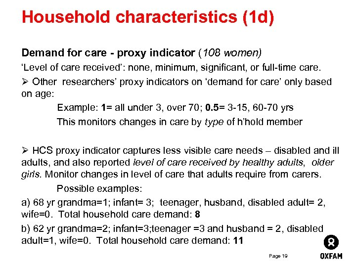 Household characteristics (1 d) Demand for care - proxy indicator (108 women) 'Level of