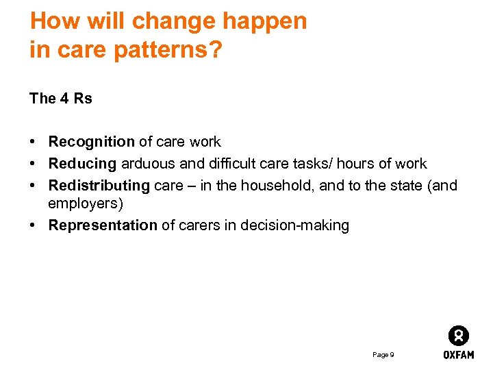 How will change happen in care patterns? The 4 Rs • Recognition of care