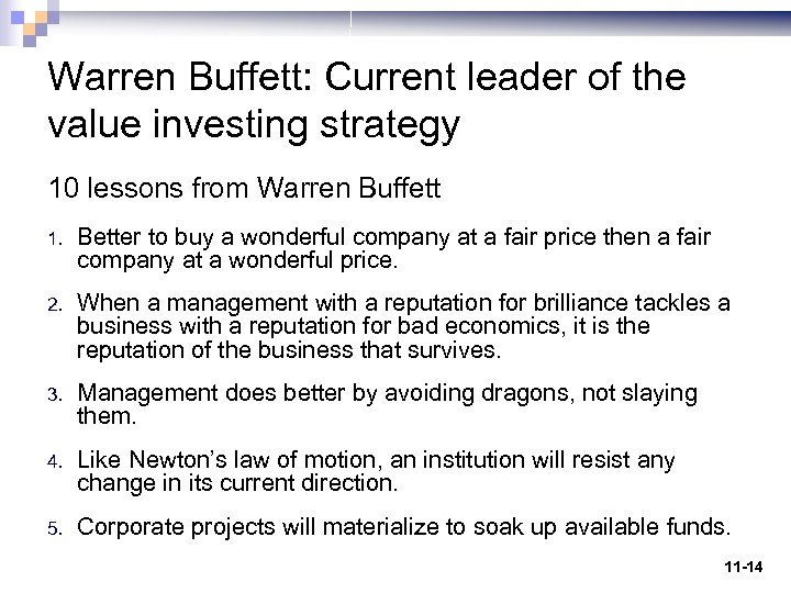 Warren Buffett: Current leader of the value investing strategy 10 lessons from Warren Buffett
