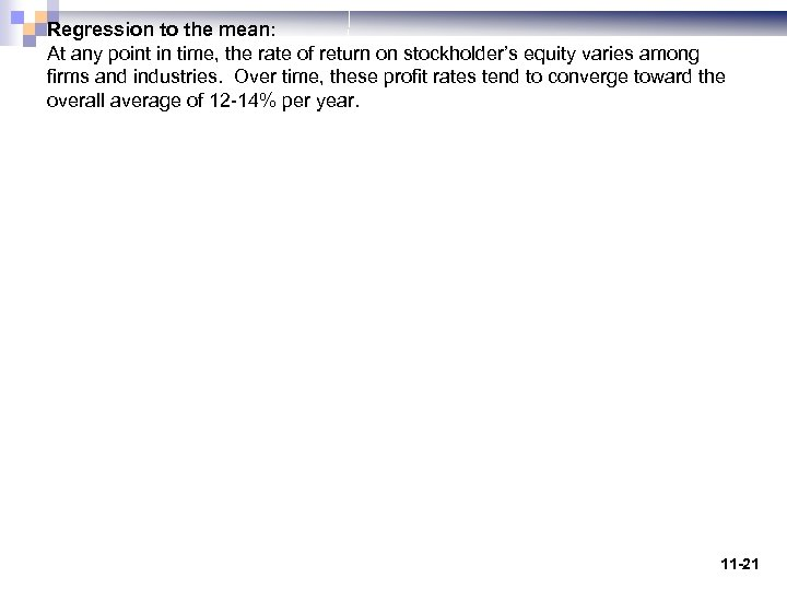 Regression to the mean: At any point in time, the rate of return on