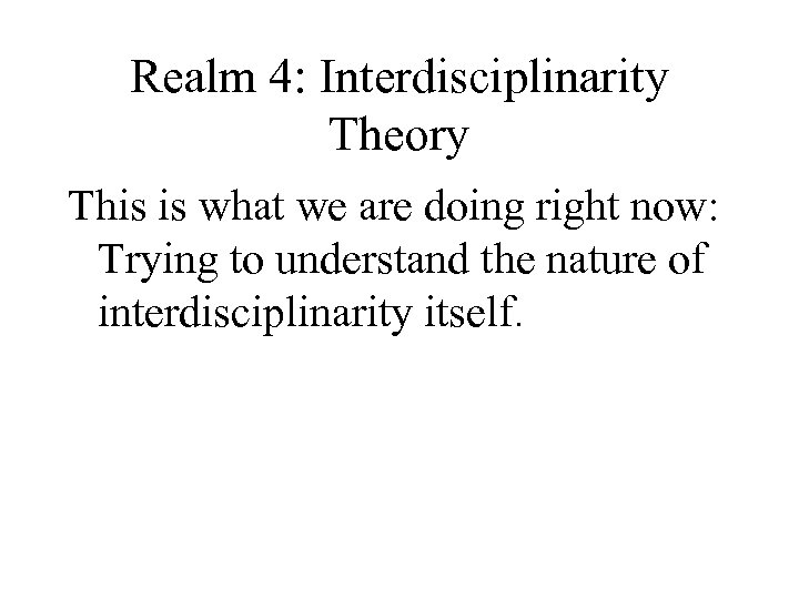 Realm 4: Interdisciplinarity Theory This is what we are doing right now: Trying to