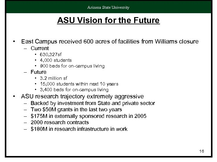 Arizona State University ASU Vision for the Future • East Campus received 600 acres