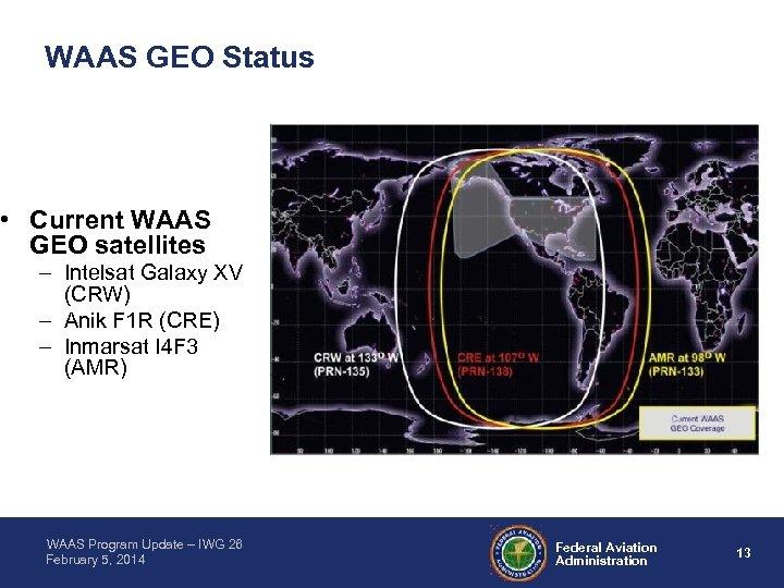 WAAS GEO Status • Current WAAS GEO satellites – Intelsat Galaxy XV (CRW) –