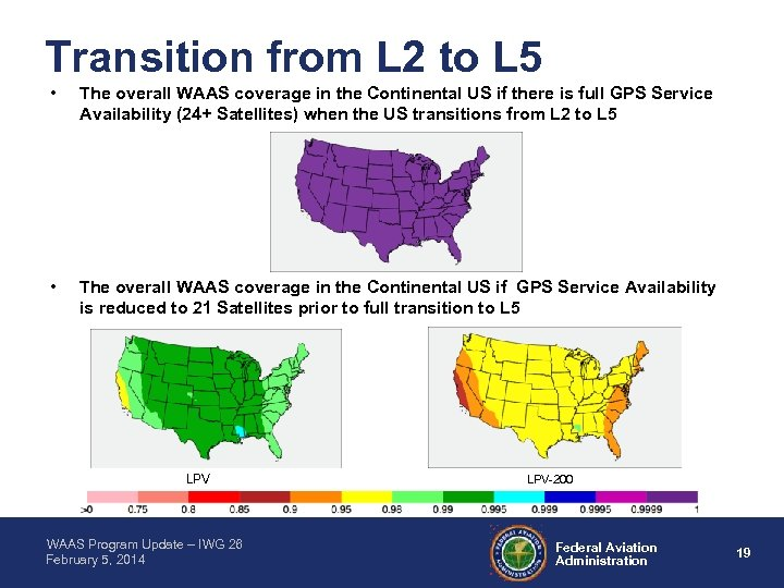 Transition from L 2 to L 5 • The overall WAAS coverage in the