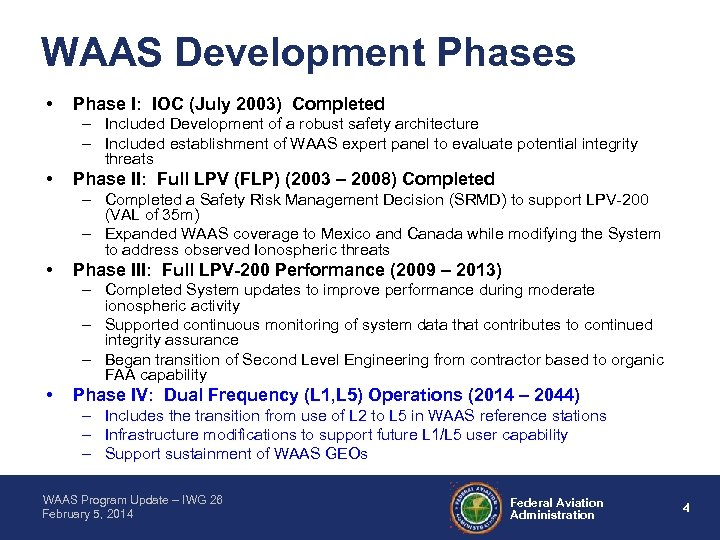 WAAS Development Phases • Phase I: IOC (July 2003) Completed – Included Development of