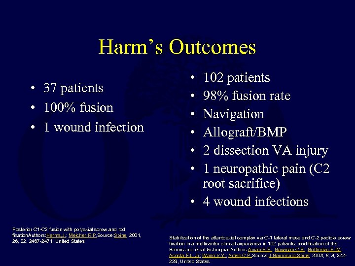 Harm's Outcomes • 37 patients • 100% fusion • 1 wound infection Posterior C