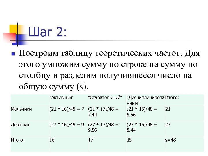 Шаг 2: n Построим таблицу теоретических частот. Для этого умножим сумму по строке на