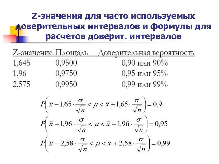 Z-значения для часто используемых доверительных интервалов и формулы для расчетов доверит. интервалов