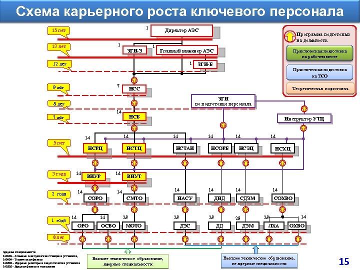Схема карьерного роста ключевого персонала 1 15 лет 1 13 лет ЗГИ-Э Директор АЭС