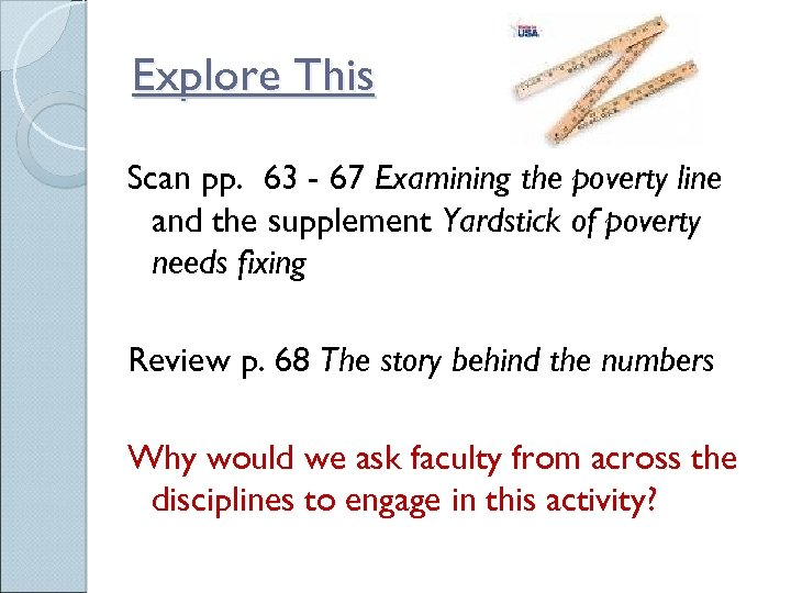 Explore This Scan pp. 63 - 67 Examining the poverty line and the supplement