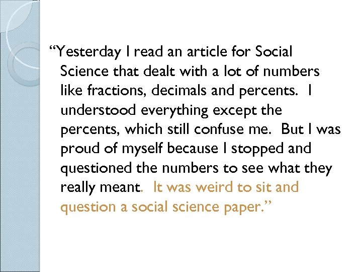 """Yesterday I read an article for Social Science that dealt with a lot of"