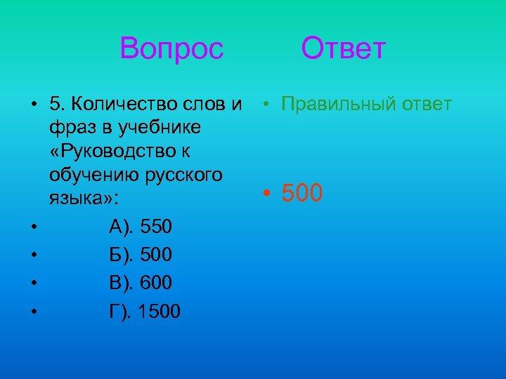 Вопрос • 5. Количество слов и фраз в учебнике «Руководство к обучению русского языка»