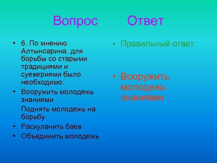 Вопрос • 6. По мнению Алтынсарина, для борьбы со старыми традициями и суевериями было