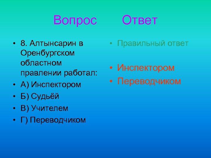 Вопрос • 8. Алтынсарин в Оренбургском областном правлении работал: • А) Инспектором • Б)