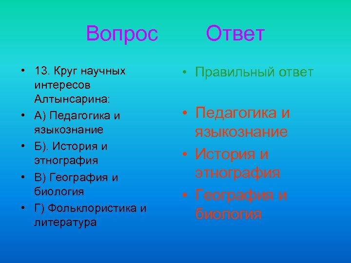 Вопрос • 13. Круг научных интересов Алтынсарина: • А) Педагогика и языкознание • Б).