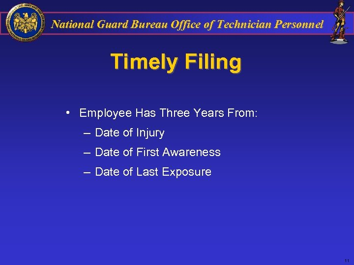 National Guard Bureau Office of Technician Personnel Timely Filing • Employee Has Three Years