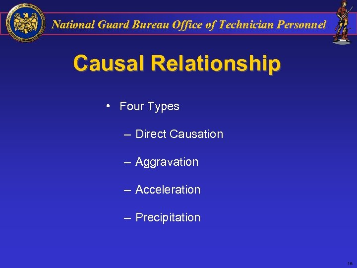 National Guard Bureau Office of Technician Personnel Causal Relationship • Four Types – Direct