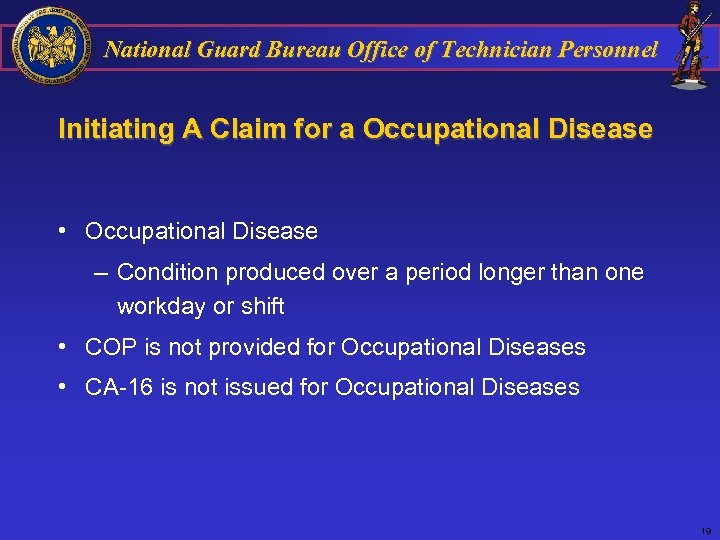 National Guard Bureau Office of Technician Personnel Initiating A Claim for a Occupational Disease
