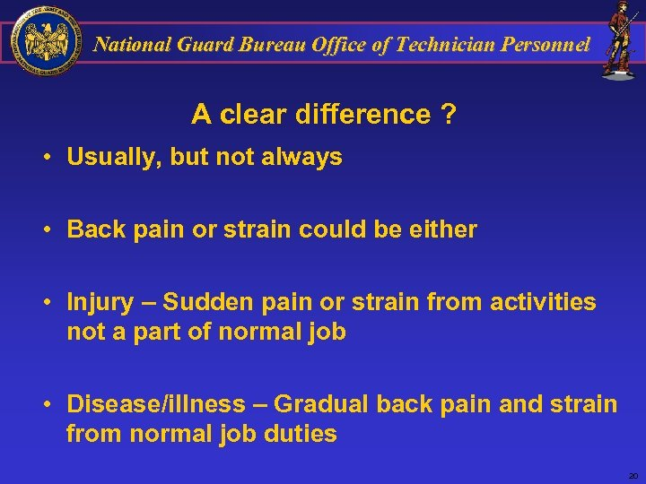 National Guard Bureau Office of Technician Personnel A clear difference ? • Usually, but