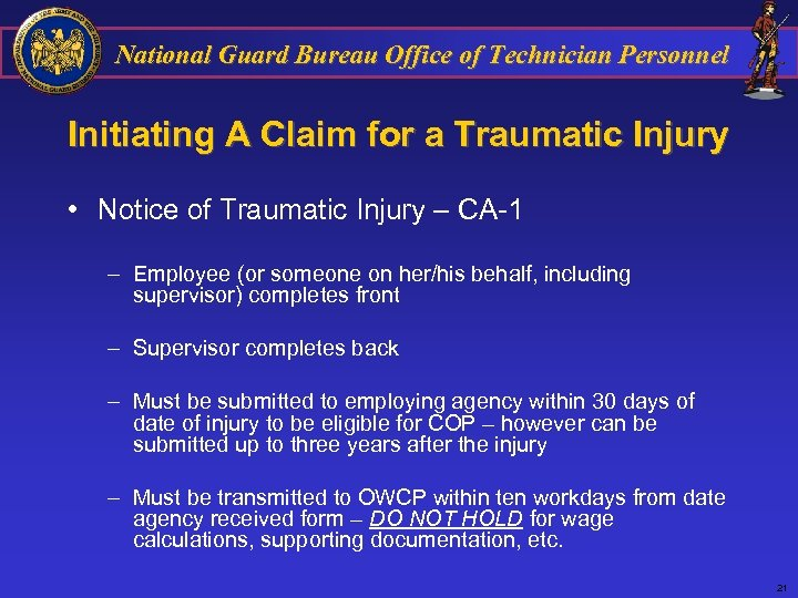 National Guard Bureau Office of Technician Personnel Initiating A Claim for a Traumatic Injury