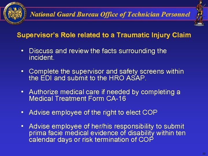 National Guard Bureau Office of Technician Personnel Supervisor's Role related to a Traumatic Injury