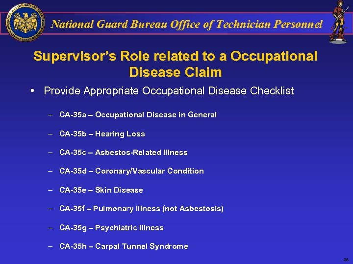 National Guard Bureau Office of Technician Personnel Supervisor's Role related to a Occupational Disease