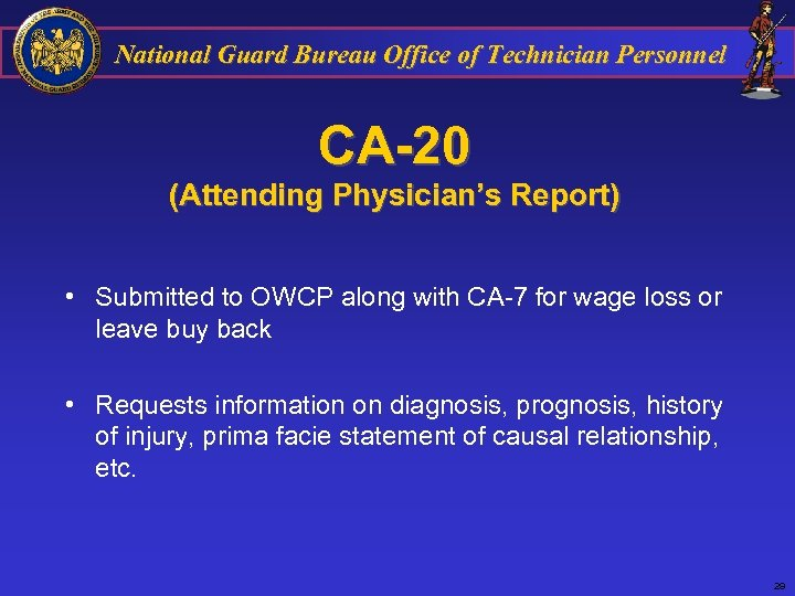 National Guard Bureau Office of Technician Personnel CA-20 (Attending Physician's Report) • Submitted to