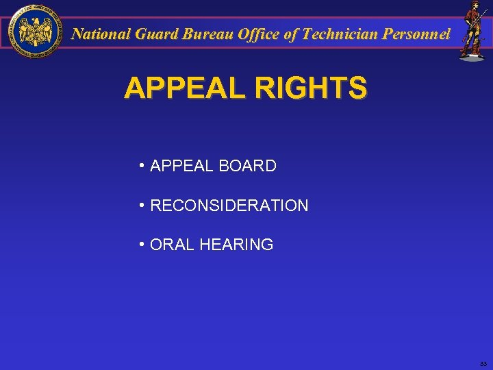 National Guard Bureau Office of Technician Personnel APPEAL RIGHTS • APPEAL BOARD • RECONSIDERATION