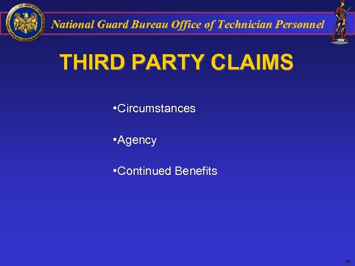 National Guard Bureau Office of Technician Personnel THIRD PARTY CLAIMS • Circumstances • Agency