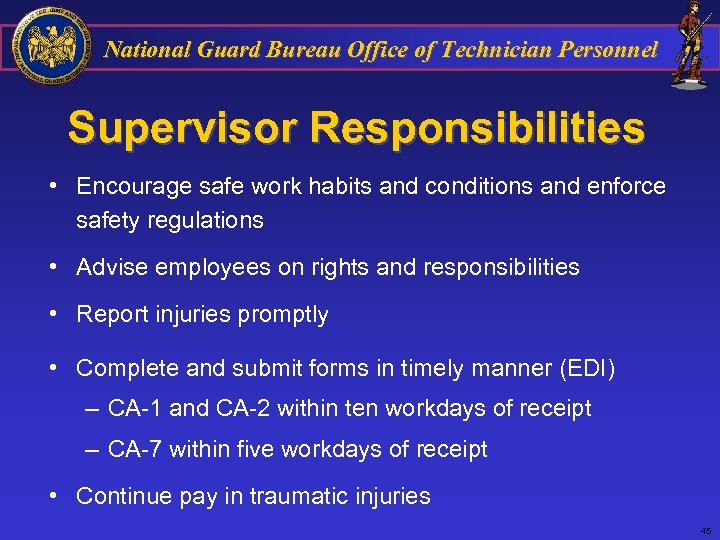 National Guard Bureau Office of Technician Personnel Supervisor Responsibilities • Encourage safe work habits