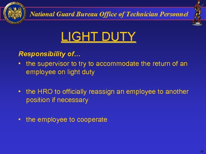 National Guard Bureau Office of Technician Personnel LIGHT DUTY Responsibility of… • the supervisor