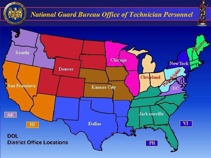National Guard Bureau Office of Technician Personnel DOL District Office Locations 56