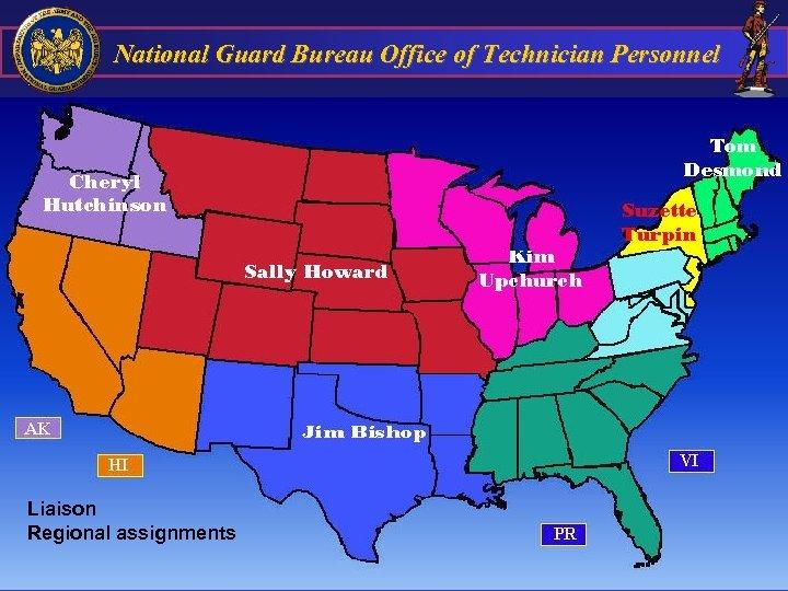 National Guard Bureau Office of Technician Personnel Liaison Regional assignments 57