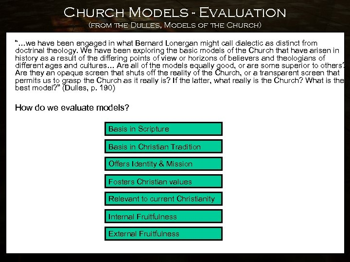 """Church Models - Evaluation (from the Dulles, Models of the Church) """"…we have been"""